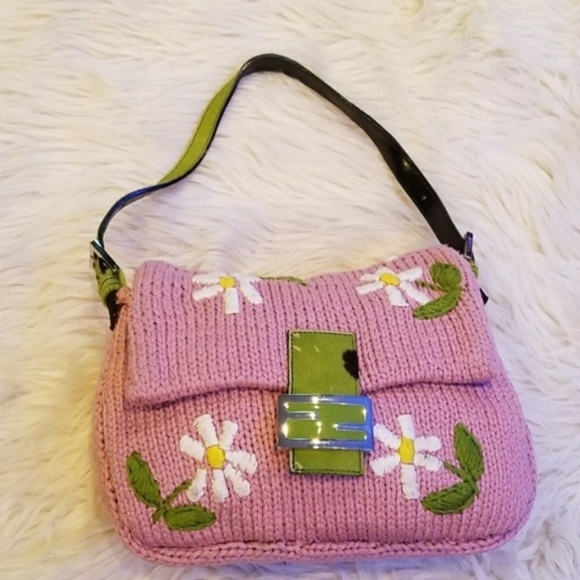 Fendi Handbags - Girly Pink  1395 FENDI Crochet Mama Baguette Bag 6e55e111bcd6b